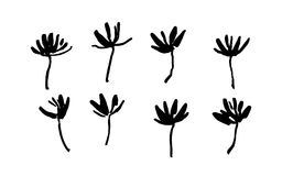 Set of hand drawn simple brush paint flowers painted by ink. Grunge style elements. Black isolated vector on white background. Set of hand drawn simple brush stock illustration