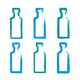 Set of hand-drawn simple empty bottles of tequila, collection of. Brush drawing bottle icons, hand-painted silhouette of whiskey bottles isolated on white Stock Illustration