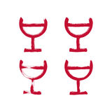Set of hand-drawn simple half full wineglasses, brush drawing go. Blet icons, hand-painted glass of red wine isolated on white background Royalty Free Stock Photo