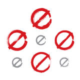 Set of hand-drawn simple vector prohibition icons Royalty Free Stock Photo