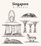 Set of hand-drawn Singapore buildings sketch vector illustration. Marina Bay Sands hotel,Gardens by the Bay,Singapore Flyer,museum of art and science and stock illustration