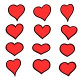 Set of hand drawn sketch hearts. Vector grunge style icons collection. Illustration the on the white background. Set of hand drawn sketch hearts. Vector grunge Stock Photos