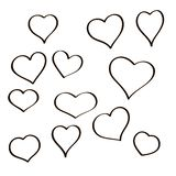 Set of hand drawn sketch hearts. Vector grunge style icons collection. Illustration the on the white background. Set of hand drawn sketch hearts. Vector grunge Royalty Free Stock Photo