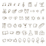 Set of hand drawn sketch icons, music note, food, stationery and. More royalty free illustration