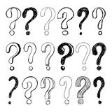 Set of hand drawn Sketch question marks. Vector illustration. Royalty Free Stock Images