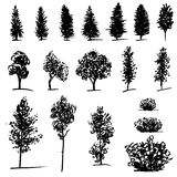 Set of hand drawn sketch trees Royalty Free Stock Images