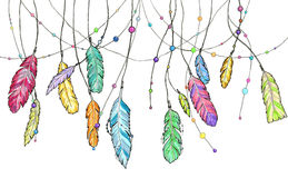 Set of hand drawn sketch watercolor feathers swinging in the win Stock Photo