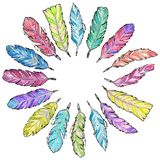Watercolor feathers set Royalty Free Stock Images