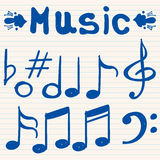 Set of hand drawn, sketched, doodled music notes Royalty Free Stock Photo