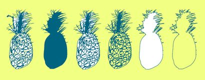 Set of hand drawn sketches of pineapples, ananas in doodle style. Silhouettes and contours tropical fruits on yellow background. Elements for design print royalty free illustration