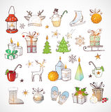 Set of hand-drawn sketchy christmas elements Stock Image