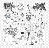 Set of hand-drawn sketchy christmas elements. Doodle sketch vector illustration. Candles, gift boxes. snowmen, pomanders.  vector illustration