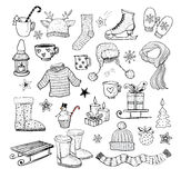 Set of hand-drawn sketchy christmas elements. Stock Image