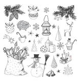 Set of hand-drawn sketchy christmas elements. Royalty Free Stock Photography