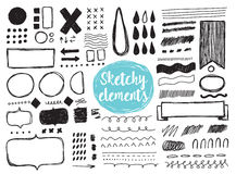 Set of hand drawn sketchy elements, brush strokes. Royalty Free Stock Image