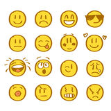 Set of hand drawn smiles on white background. Royalty Free Stock Photography