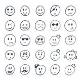 Set of hand drawn smiley, funny faces with different expressions Royalty Free Stock Image