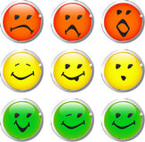 Buttons smiley hs 3 colours Stock Photos