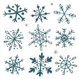 Set of hand-drawn snowflakes. Set of original hand-drawn snowflakes. Great for christmas cards, invitations, decoration, wrapping paper etc Stock Photos