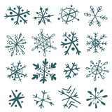 Set of hand-drawn snowflakes Royalty Free Stock Images