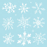 Set of hand-drawn snowflakes. Set of original hand-drawn snowflakes. Great for christmas cards, invitations, decoration, wrapping paper etc Royalty Free Stock Images