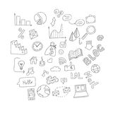 Set of hand drawn social doodles. Royalty Free Stock Photography