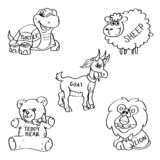 Set of hand drawn soft toy doodles isolated on a white background. royalty free stock image