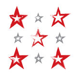 Set of hand-drawn soviet red star icons scanned and vectorized. Collection of brush drawing communistic stars, hand-painted USSR symbol isolated on white Stock Images