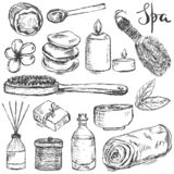 Set of hand drawn spa and beauty related products stock photos