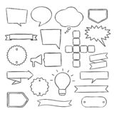 Set of hand drawn speech bubbles, badges and ribbons. stock image