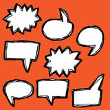 Set of hand-drawn speech bubbles Royalty Free Stock Photos