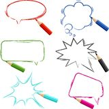 Set of hand-drawn speech bubbles with pencils Royalty Free Stock Photo