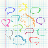 Set of hand drawn speech bubbles vector in color Royalty Free Stock Photo