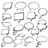 Set of Hand Drawn Speech Bubbles Stock Photo