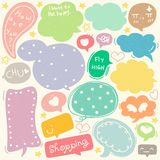 Set of Hand Drawn Speech and Thought Bubbles Doodle. Colorful speech and thought bubbles doodle collection stock illustration