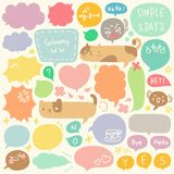 Set of Hand Drawn Speech and Thought Bubbles Doodle. Colorful speech and thought bubbles doodle collection royalty free illustration