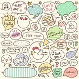 Set of Hand Drawn Speech and Thought Bubbles Doodle Royalty Free Stock Image