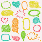 Set of hand drawn speech and thought bubbles. Royalty Free Stock Images