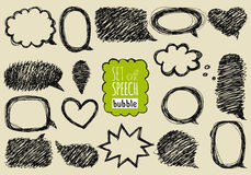 Set of hand drawn speech and thought bubbles. Royalty Free Stock Photo