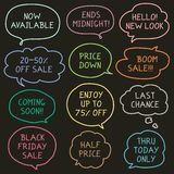 Set of Hand Drawn Speech and Thought Bubbles for Sales Royalty Free Stock Photo