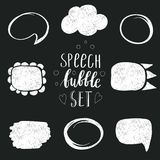 Set of hand-drawn speech and thought bubbles Royalty Free Stock Photos