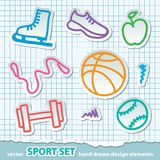 Hand drawn sport stickers, vector eps 10 Royalty Free Stock Images