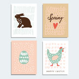 Set of hand drawn spring, easter cards with artistic textured background,  Royalty Free Stock Photos