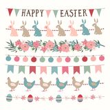 Set of hand drawn spring, Easter garlands with lights, party bunting flags. Hand drawn web banners, borders with rabbits royalty free stock images