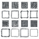 Set of hand drawn squares. Vector design elements. Lines texture Royalty Free Stock Image
