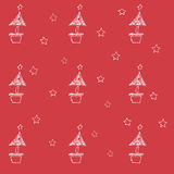 Set of hand drawn stars and chrismas tree. Retro vintage style. Seamless background. chrismas pattern on red background. Royalty Free Stock Image