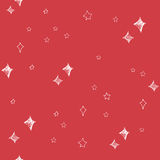 Set of hand drawn stars and chrismas tree. Retro vintage style. Seamless background. chrismas pattern on red background. Stock Photos