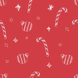Set of hand drawn stars and chrismas tree. Retro vintage style. Seamless background. chrismas pattern on red background. Royalty Free Stock Photos