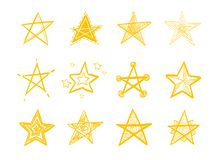Set of hand drawn stars. vector illustration