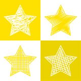 Set of hand drawn stars. Vector grunge style icons collection stock illustration